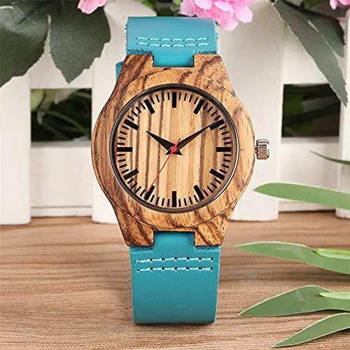 UIOXAIE Reloj de Madera Caja de Reloj Reloj de Pulsera de Cuarzo para Mujer Reloj de Pulsera de Cuero Genuino Azul a la Moda Reloj de Madera con Esfera roja de Segundos para Mujer