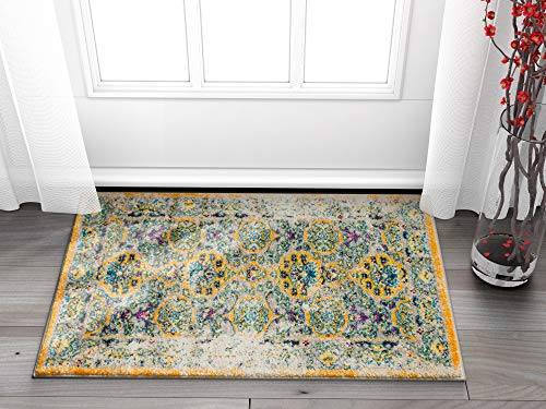 """Well Woven Modern Weave Bright Distressed Traditional Vintage Persian Floral Orange Beige Blue 2x4 (2'3"""" x 3'11"""") Area Rug"""