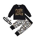 Janly - Set da 0 a 24 mesi, per bambini, con stampa di lettere e lettere + pantaloni leopardati + fasce per capelli, per 6 – 12 mesi, per Natale, Natale, Ringraziamento, colore: nero