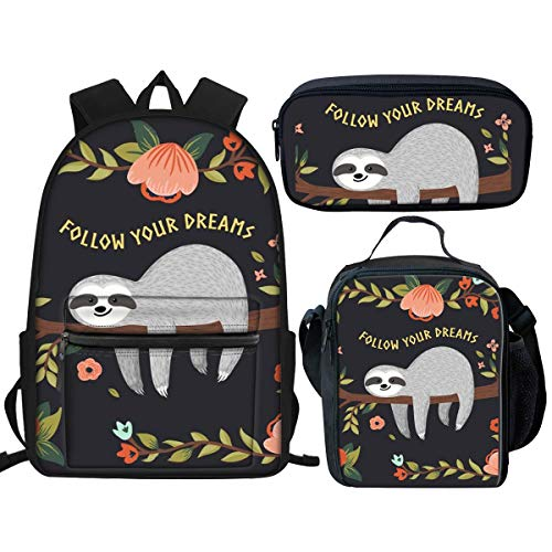 Nopersonality Funny Sloth Primary Secondary School Backpack for Girls Boys School Bags Bookbag Teens Rucksack and Lunch Bag Pencil Case Set Black
