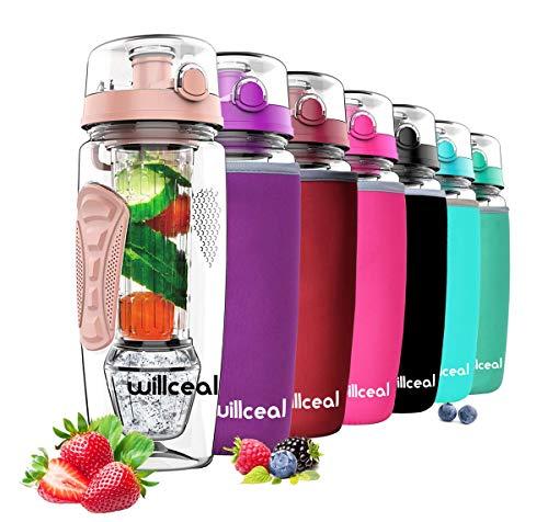 willceal Bouteille d'eau pour infuseur de Fruits 32 oz Durable avec Boule de Gel Amovible, Grande - Tritan sans BPA, Couvercle à Rabat, Protection Anti-fuites - Sports, Camping (d'or)
