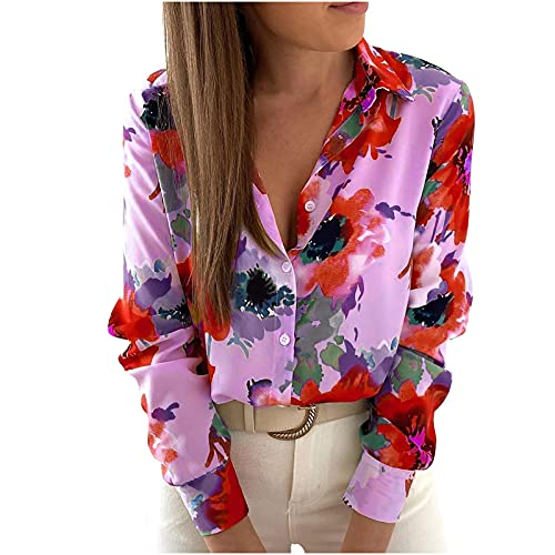 neiabodos Eleganter Damen-Pullover mit langen Ärmeln, Retro-Print und Cardigan mit Knöpfen, langarm, mit lockerer Laterne und Umschlag, violett, Medium