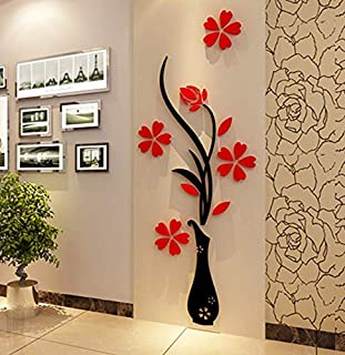 Acrylic 3D Vase plum wall stickers living room bedroom TV background decoration mm