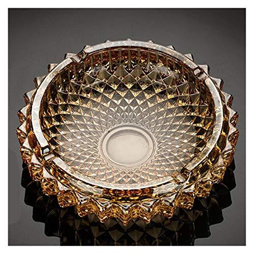 portátil 1 unids Diámetro Redondo 130/170 / 197mm Gold/Clear/Amber Golden Crystal Cenicero High-Grade Refinado Oficina Creativa Cenicero cenicero (Color : Amber Golden170mm)