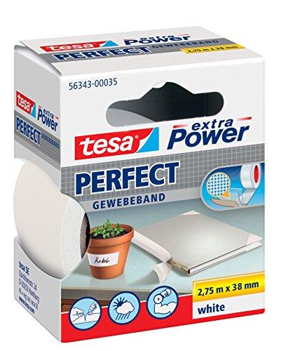 Tesa extra Power Ruban adhésif tissé Noir 2,75 m x 19 mm 2,75m:38mm / 5er Pack weiß