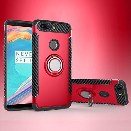 HUANRUOBAIHUO-PHONE CASE Mobiltelefonhülle Armor Double Layer 2 in 1-Abdeckung, 360-Grad-Drehringhalterung und Magnet-Autohalterung für OnePlus 5T (Color : Red)