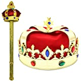 King Crown and Scepter - Royal Costume Accessories - Dress Up Role Play
