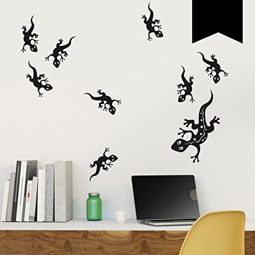 WANDKINGS Wandtattoo - Geckofamilie mit 9 Geckos - 40 x 28 cm - Schwarz - Wähle aus 5 Größen & 35 Farben