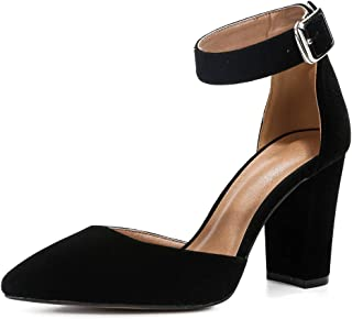 Women's Elegant D'Orsay Ankle Strap Pointed Toe Pumps Block Chunky High Heel Shoes X9