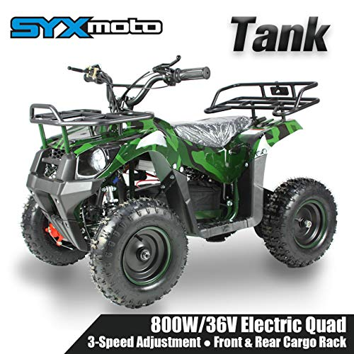 SYX MOTO 36V 800W Tank Kids Mini ATV Dirt Quad Electric Four-Wheeled Off-Road Ride on Vehicle, 5-7.5-12.5mph, with Reversing Switch, Green Camo