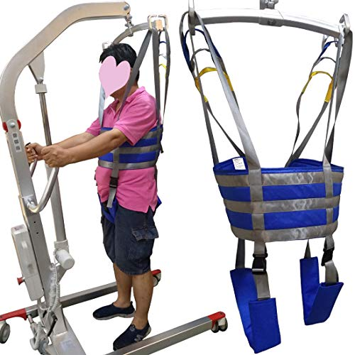 Patient Lift Slings Full Body Walking Standing Aids Carrier Transfer Seat Lifting Cushion Pad Medical Belt Strap with Padded Buffer Large AnyBack Adjustable Waist 3XL 4XL Blue