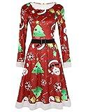 IEFIEL Femme Chemise Robe Mère Noël Santa Lutin Longue Robe de Chambre Pyjama Kimono Noël Robe Déguisement Fée Elfe Noël Cosplay Clubwear S-XXXXXL Rouge A S