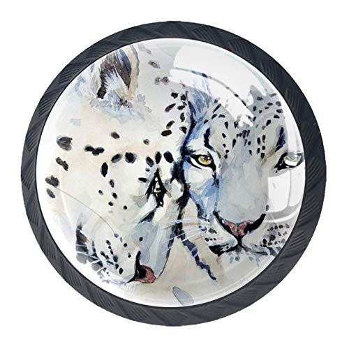 Pomos de puerta de armario de diseño de bestia de gato de leopardo, 4 unidades