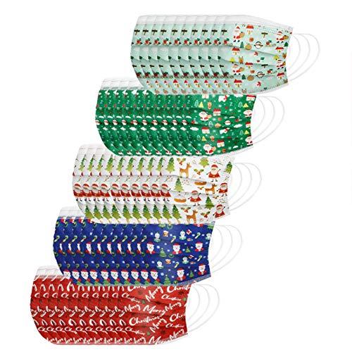 Rabbiter 50 Stück Mund und Nasenschutz Mundschutz Kinder Einweg, Christmas druck Farbe Gemischte Farbkombination Atmungsaktive 3 Lagig Bandana Staubdicht Halstuch Multifunktional für Jungen Mädchen