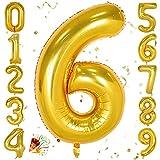 Unisun Foil Palloncino Numeri 102cm, Gold Gigante Numero Balloons 0 1 2 3 4 5 6 7 8 9, Compleanno Palloncino, Occasioni romantiche, Matrimonio, Decorazione di forniture per l'anniversario