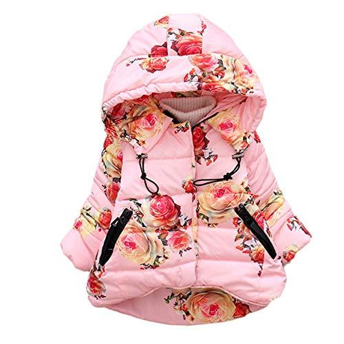 NPRADLA 2018 Mädchen Mantel Herbst Winter Klassische Jacke Klein mädchen Lang Windjacke mit Kapuze Baumwolle Trenchcoat (Rosa,L/2-3 Jahre alt)