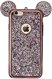 Luxury Glitter Case for Samsung Galaxy S6 Edge,Aoucase Bling Diamond Cute Cartoon 3D Mouse Ears Design Soft TPU Electroplate Bumper Drop Protection Case with Black Dual-use Stylus,Rose Gold