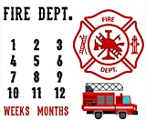 F-FUN SOUL Fireman car Backdrop for Photography, Fire Department, Large 48x40in Soft Cotton, Baby Monthly Milestone Blanket, Baby Shower Age Growth Tracker, Newborns Mom with Bonus Marker DSFS600