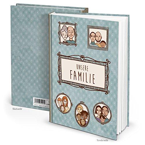 XXL azul marrón Familia libro Historias de nuestra familia–Escribir en blanco libro Cuaderno vacías páginas blancas libro sin todo Retro–Regalo para padres Mama Papa großeltern Niños