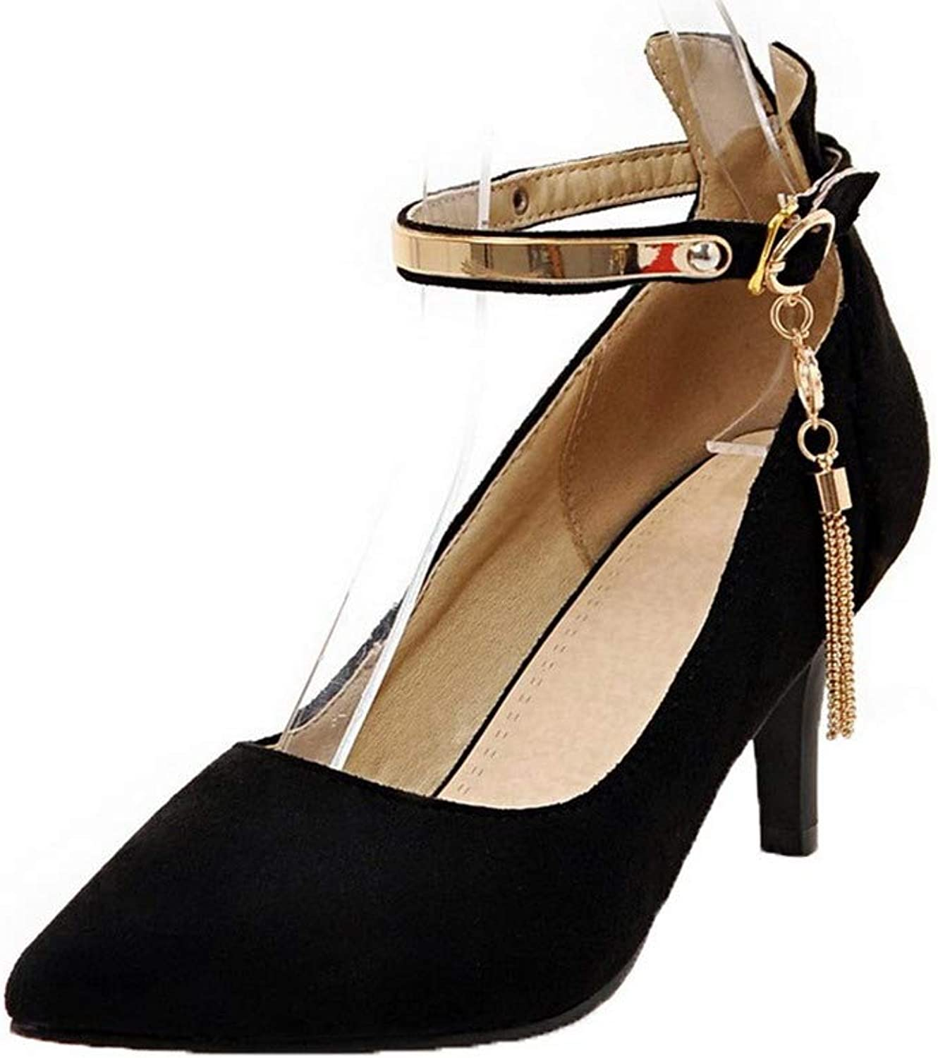 AllhqFashion Women's Pointed Closed Toe Solid Buckle Pumps-shoes,FBUDD013403