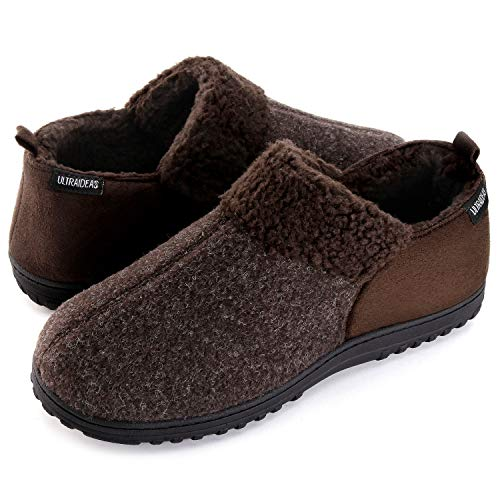 ULTRAIDEAS Men's Cozy Memory Foam Slippers with Warm Fleece Lining, Wool-Like Blend Micro Suede House Shoes with Indoor Outdoor Rubber Sole(Coffee, Size 12)
