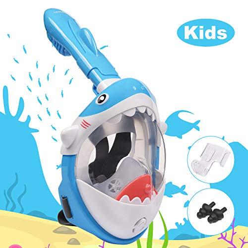 Snorkelmasker voor kinderen, volledig gezichtsduikmasker Shark-ontwerp 180 ° Zeezicht Gemakkelijk ademend duikmasker Anti-condens Anti-lek met actiecamerabevestiging