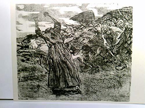 Losbruch. Käthe Kollwitz. Radierung 1903. AK s/w. Mnner mit Waffen ziehen in den Krieg. Kunst