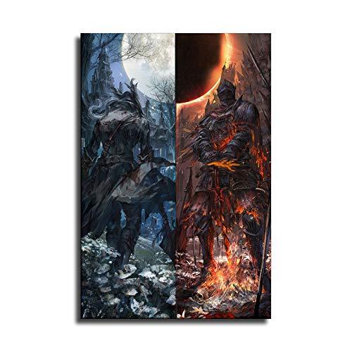 Póster artístico de Dark Souls y Bloodborne de sangre y arte de pared, impresión moderna para decoración de dormitorio familiar