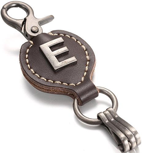 Brown Leather Alphabet Keychain, Single Letter with Easy Clasp Key - by Marino Ave - E - onesize