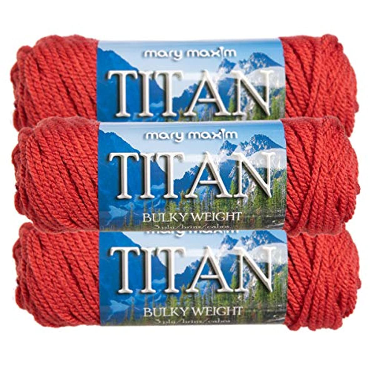 Mary Maxim (3 Pack Titan 100% Acrylic Soft Coral Pink Yarn for Knitting Crocheting #5 Bulky