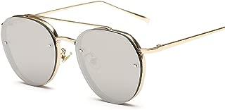 Women's Round Mirrored Lens Aviator Sunglasses