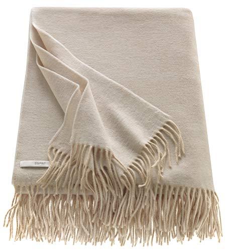 ESPRIT Melange Sofadecke beige • weiche Kuscheldecke • Tagesdecke 150x200 cm • Leicht zu pflegene Couchdecke • 100prozent Polyacryl