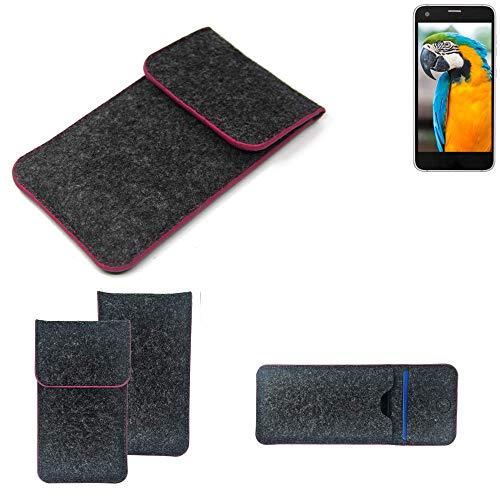 K-S-Trade® Filz Schutz Hülle Für Vestel V3 5040 Schutzhülle Filztasche Pouch Tasche Case Sleeve Handyhülle Filzhülle Dunkelgrau Rosa Rand