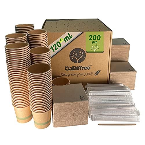 200 Vasos de café Desechables Kraft para café expreso de 120 ml con agitadores de Madera en Funda de Papel para café y servilletas recicladas