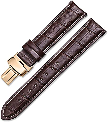 PINGZG Reloj Bandas Correa de Cuero Genuina Pulsera 14mm-22mm Reloj Correa Bardefly Hebilla Correa Lanzamiento rápido (Color : Brown White-Ros Gold, Size : 20mm)
