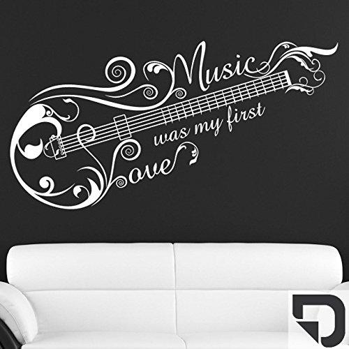 DESIGNSCAPE® Wandtattoo Music Love Ornament, Music was my first love, Gitarre 120 x 62 cm (Breite x Höhe) dunkelgrau DW807114-M-F7