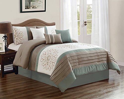 JBFF 7 Piece Oversized Luxury Embroidery Bed in Bag Microfiber Comforter Set (Sage, Queen)