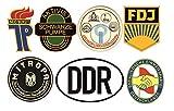 24/7stickers #692 / DDR Aufkleber Set 1 Höhe je 6,5cm VEB Oldtimer Retro Vintage FDJ JP Mitropa Osten für Trabant Barkas Wartburg Simson usw.