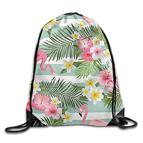 GDESFR Sac à Dos à Cordon Large Capacity Drawstring Backpack Flamingo Flowers Waterproof Bunch Backpack for Men and Women