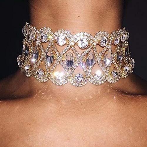 Sethain Boho Tour de cou strass Collier Or Chaîne en cristal Colliers courts Bijoux pour femmes et filles