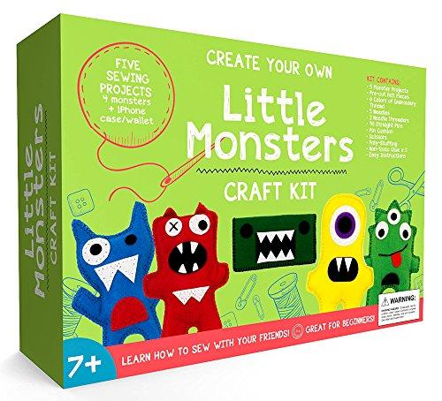 Craftster's Sewing Kits Kit de Couture de Petits Monstres pour débutants pour Filles et garçons âgés de 7 à 13 Ans Meilleurs Jouets et kit d'activités manuelles pédagogiques pour Enfants