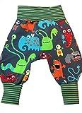 Babyhose Gr. 62 verschiedene Muster, Baby Pumphose, Sweathose, hier mit Monstern C-Fashion-Design