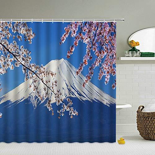 Duschvorhang 180 * 200cm Blumen Duschvorhänge Japan Mount Fuji Scenery 3D Badezimmer Vorhänge Wasserdicht Mit Haken Dekoration Druck Waschbar Bildschirm