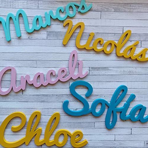 Nombres Decorativos Personalizados de madera para Decoración del Hogar, Comunión, Boda, Cumpleaños y Habitación de Bebe infantil de 25/35/45cm satinados