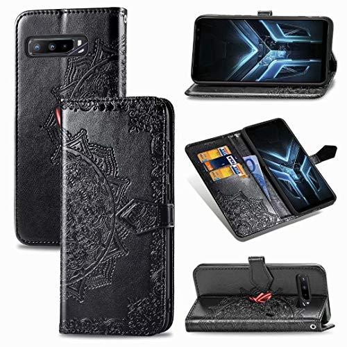 Luckyandery Rog Phone 3 ZS661KS ZS661KS Klapphülle mit Standfunktion, Standfunktion, integrierter Kartenhalter, Schwarz