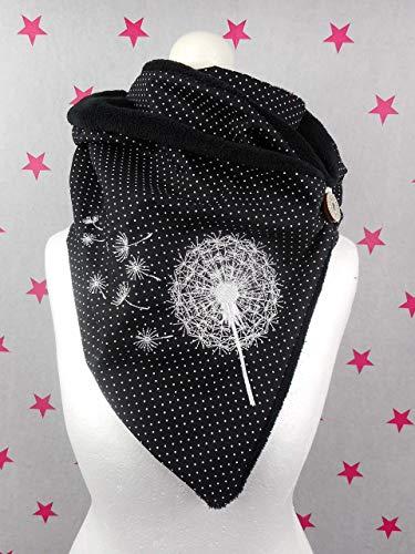 pinkeSterne ☆ Warmer Fleece Schal Knopfschal Pusteblume Schwarz Stickerei Punkte Dots Damenschal Schalkragen Wickelschal