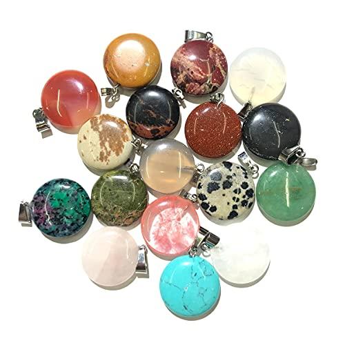 XIAORUI 2 uds, Colgante de Piedra Natural, Accesorios para Collar, Forma Redonda, Cristal, ágatas, Piedra, turquesas, dijes para Hacer Joyas, Pulsera