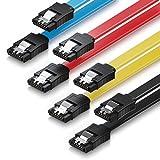 deleyCON 4X 0,5m Cable S-ATA 3 SATA III HDD SSD Cable de Datos 6 GBit/s - 2X Recto - Amarillo Rojo Azul Negro