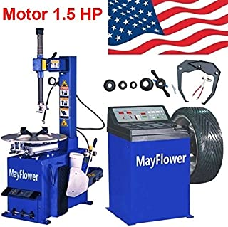 Mayflower - 1.5 HP Tire Changer Wheel Changers Machine Balancer Rim Clamp Combo 560 680/1 Year Full Warranty