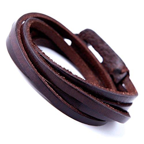 Urban-Jewelry Bracelet en cuir véritable pour homme avec fermoir en métal Marron foncé